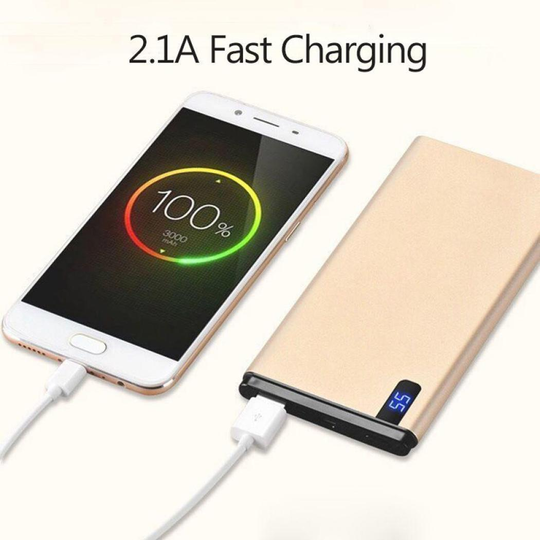 20000mAh Ultra-thin Fast Charging Power Bank Powerbank For iPhone Mobile Phone External Battery Portable LED Digital Display