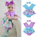 2017 Newborn Baby Girls Clothes Sleeveless Lace Romper Dress Jumpsuit+Headband Outfit Clothes 0-24M