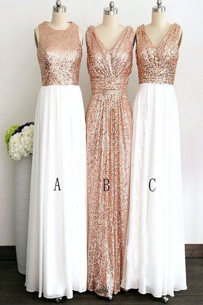 Rose Gold Long White Chiffon   Bridesmaid     Dresses   Sleeveless V-neck Sequined   Bridesmaid     Dress