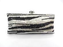 S7735TJ Tiger Zebra pattern Crystal lady fashion wedding Bridal Metal Evening purse clutch bag case handbag