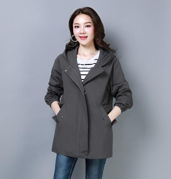 2018 autumn new loose casual cotton hooded spring and autumn coat O31 mulinsen autumn