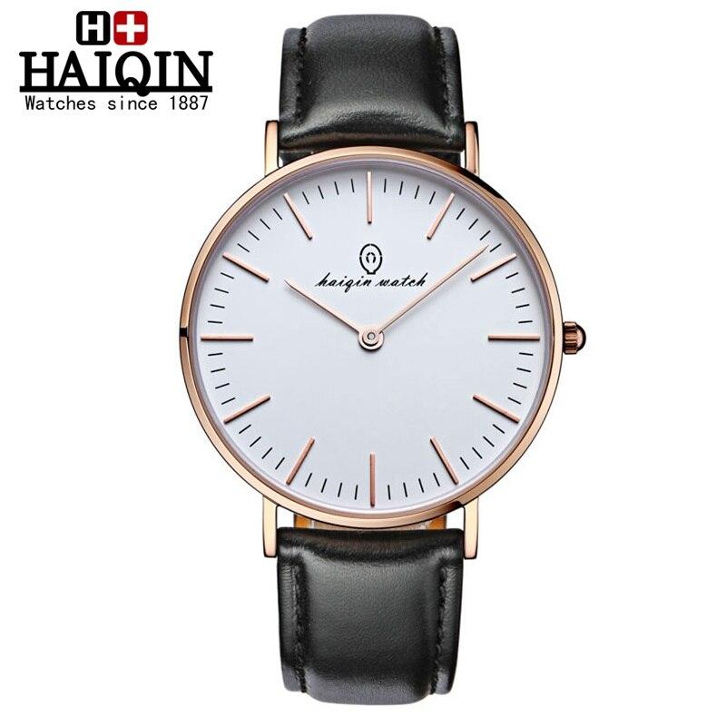 ФОТО Mens watches top brand luxury HAIQIN watch men Quartz Watch leather sapphire crystal fashion casual clock men Relogio Masculino