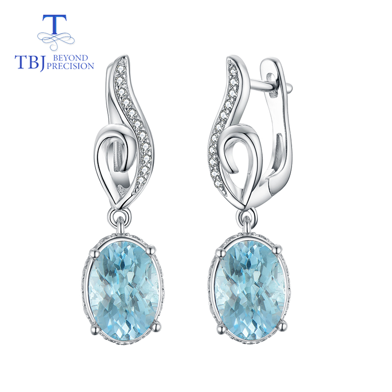 TBJ 6ct natural blue topaz checkerboard cut gemstone earring for girls boyfriend daughter gift 925 stelring