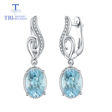 цена на TBJ,6ct natural blue topaz checkerboard cut gemstone earring for girls boyfriend daughter gift 925 stelring silver fine jewelry