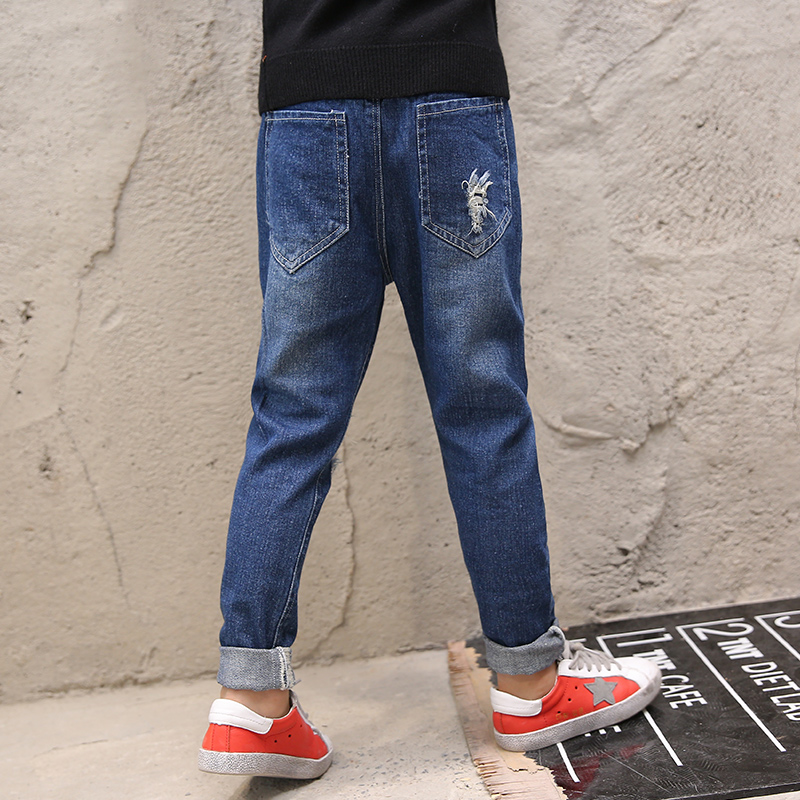 Ripped Jeans For Kids 2018 Toddler Jeans Spring Autumn Children's Jeans Pants Long Denim Pant Baby Boy Clothes Teenager italian vintage designer men jeans classical simple distressed jeans pants slim fit ripped jeans homme famous brand jeans men