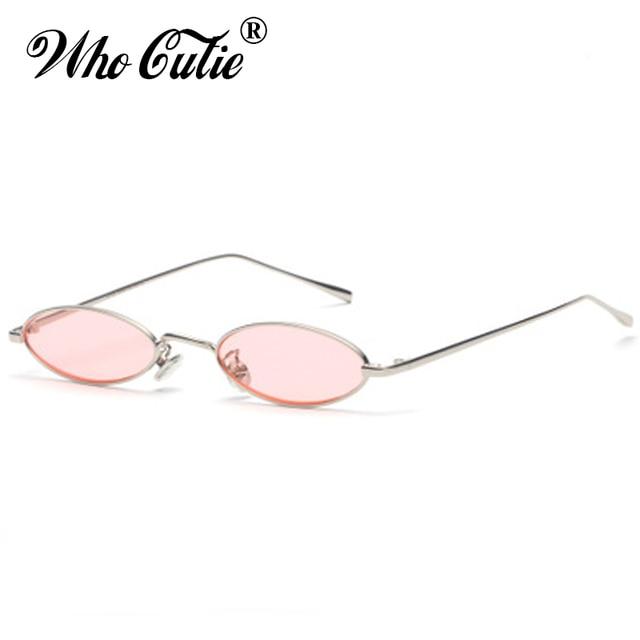 3cf403af53b0a QUE GRACINHA 2018 Pequeno Fino Oval óculos de Sol Das Mulheres Designer De  Marca Retro Rosa
