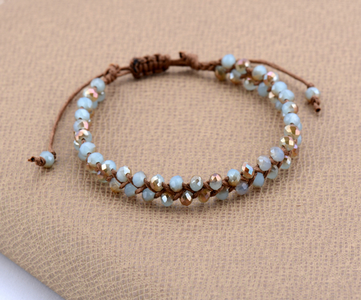 New Bling Half Plating Crystal Wax Cord Braided Bead Bracelet Adjule Beaded Friendship Bracelets Women Dropshipping In Chain Link From