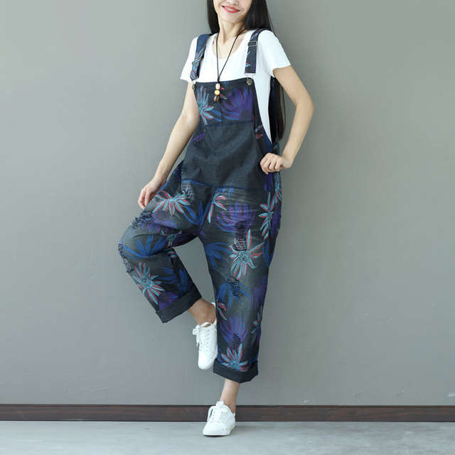 f8de2cf2346 Online Shop Women Casual Vintage Holes Denim Jumpsuits Ladies Loose Retro Floral  Printed Plus Size Overalls Pants Female Rompers Pockets