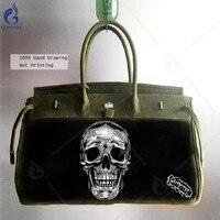 Gamystye 2018 Canvas Messenger Bags Men Casual Shoulder Bag Hand Painted Skull Laptop Satchel Military Navy Green School Handbag