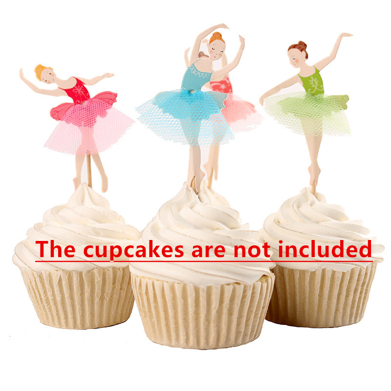 Free shipping 6pcs/lot Birthday Cup Cake Paper Crafts Toothpick Toppers Ballet Dancers Kitchen toys party decoration kids Gift