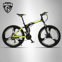 UPPER Mountain Bike Two Suspension System Steel Folding Frame 24 Speed Shimano Mechanical Brake Discs Alloy