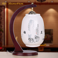 Bedroom Lamp Ofhead Chinese Style Table Lamp Solid Wood Modern Brief Ceramics Led Table Lamp