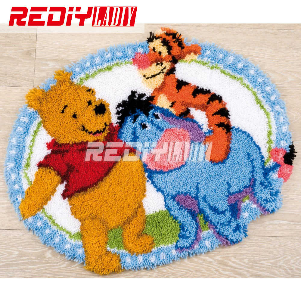 3D Latch Hook Rug Kits DIY Needlework Unfinished Crocheting Rug Yarn Cushion Mat Cartoon Friends Embroidery Carpet Free Shipping