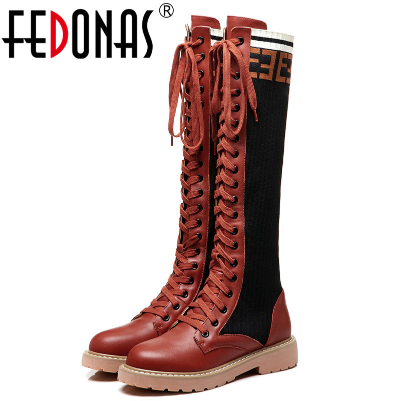 FEDONAS Brand Sexy Knee High Boots For Women Round Toe High Heels Lace Up New Warm Winter Long Shoes Woman High Motorcycle Boots enmayer high heels charms shoes woman classic black shoes round toe platform zippers knee high boots for women motorcycle boots