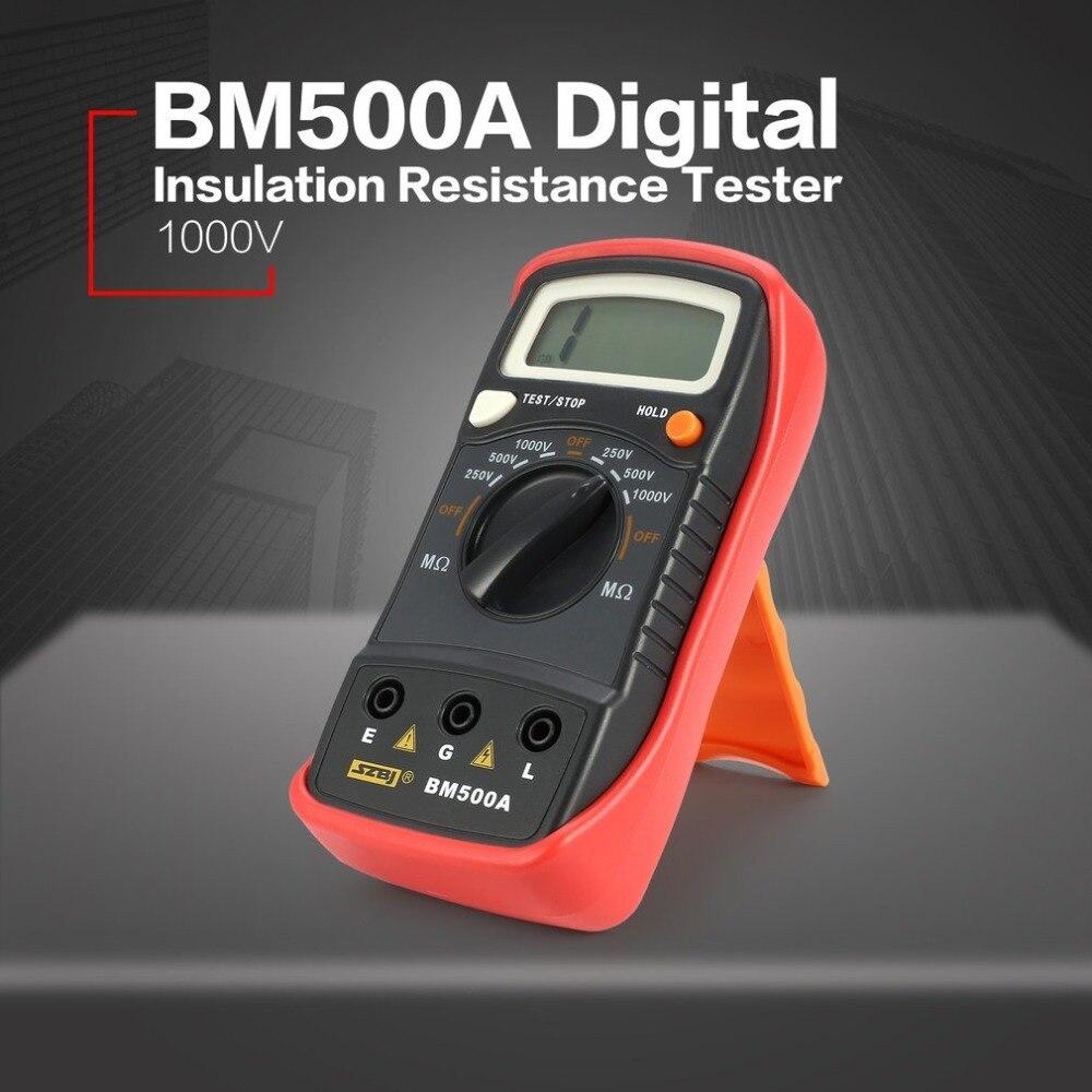 BM500A 1000V Digital Megger Auto Range Insulation Resistance ohm Meter Tester Megohmmeter Multimeter Voltmeter LED indication as907a digital insulation tester megger with voltage range 500v 1000v 2500v