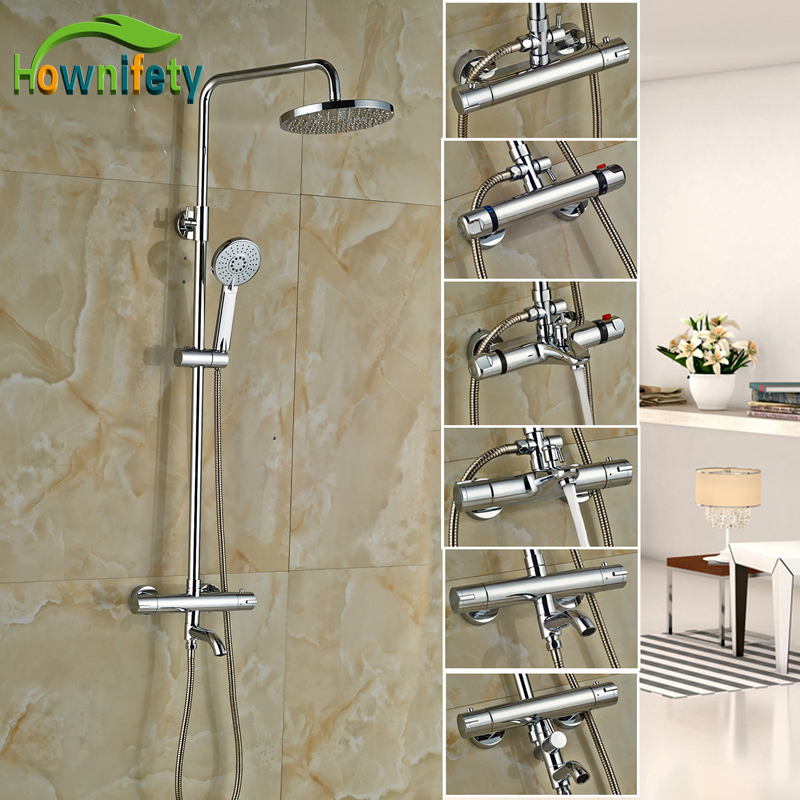 Chrome Polished Bathroom Thermostatic Shower Faucet 8 Inch Rainfall Shower Head with Hand Shower Wall Mounted wall mount 10 inch thermostatic bathroom shower faucet mixer taps dual handle with hand held shower chrome finish