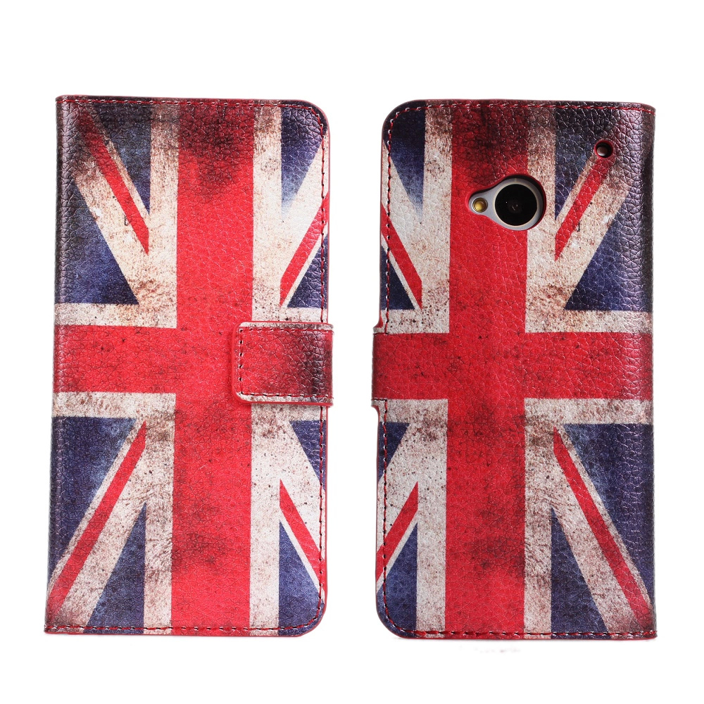 Retro Flag Cover Case For HTC One M7 UK USA Wallet Flip