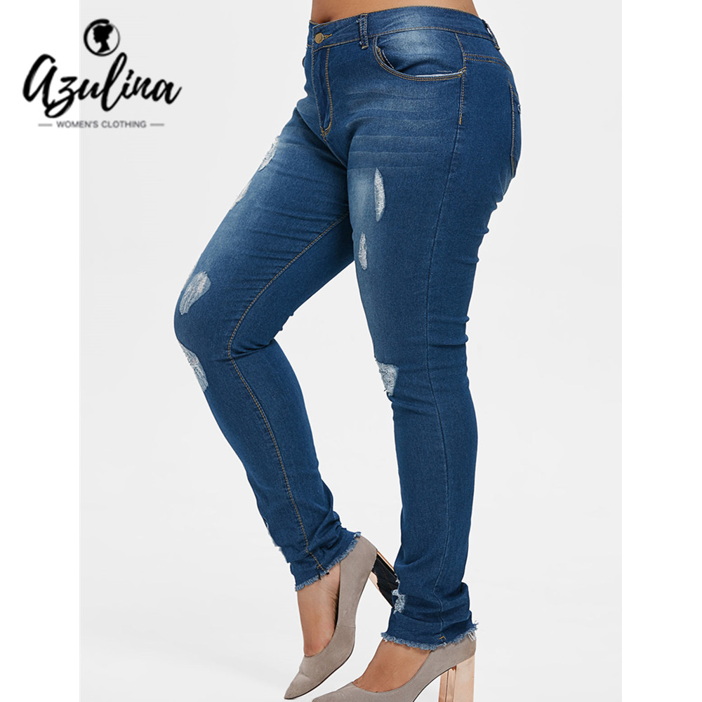 Azulina Plus Size Ripped Frayed Hem Distressed Jeans Women Denim