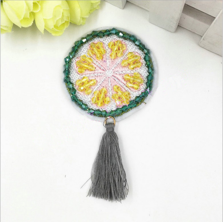 US $1 73 6% OFF|New 1Pcs tassel Hand Beaded lemon Patch for Clothing Sewing  on Beading Applique Clothes Shoes Bags Decoration Patch DIY Apparel-in