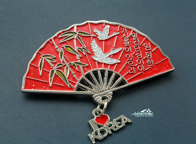 hand fan metal. bamboo hand fan, korea tourist travel souvenir metal fridge magnet craft gift idea fan f