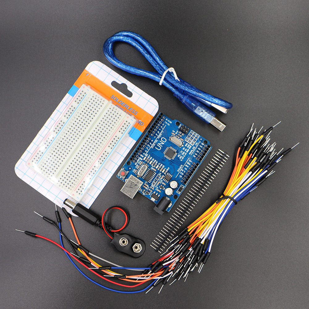 Starter Kit for Uno R3 - Bundle of 5 Items: Uno R3, Breadboard, Jumper Wires, USB Cable and 9V Battery Connector