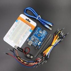 Starter Kit для Uno R3-Комплект 5 предметов: Uno R3, макет, перемычек, кабель USB и 9 В Батарея разъем