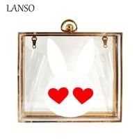 Ladies Cute Rabbit Heart Acrylic Bag High Quality Banquet Chain Messenger Bags Women Evening Party Clutch