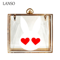 Ladies Cute Rabbit Heart Acrylic Bag High Quality Banquet Chain Messenger Bags Women Evening Party Clutch