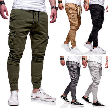 f9c9d939b2 Otoño nuevos hombres Slim Fit urbana larga pierna recta encaje hasta  pantalones lápiz Casual basculador pantalones largos moda