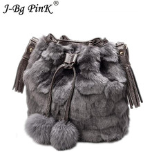 2018 New Faux Rabbit Fur Women O Bag Bucket Shoulder Bag Plush Handbag Winter Soft Sac A main femme Designer Messenger Bag цена