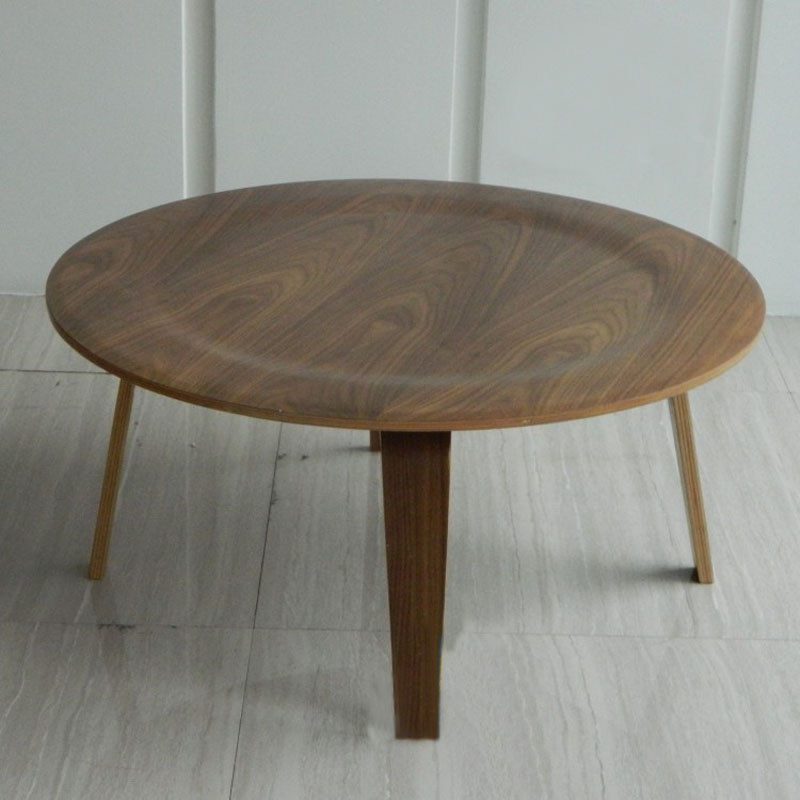 Round Plywood Table Walnut Wood Coffee Table - Furniture