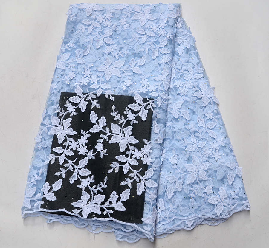 Flower Latest Style African Lace Fabric Light blue With White Embroidery Lace Fabric Bridal Wedding French Mesh Lace FabricFlower Latest Style African Lace Fabric Light blue With White Embroidery Lace Fabric Bridal Wedding French Mesh Lace Fabric