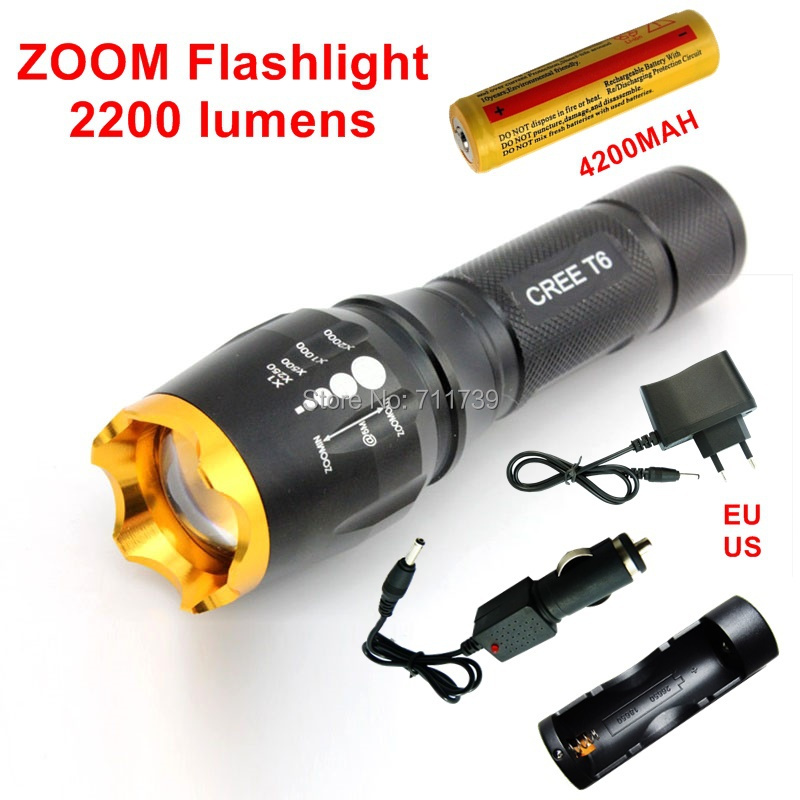 1set Waterproof CREE XML T6 2200 Lumen Torch Tactical Cree Led Flashlight 1*4200MAH 18650 battery+charger+car charger-H240 crazyfire led flashlight 3t6 3800lm cree xml t6 hunting torch 5 mode 2 18650 4200mah rechargeable battery dual battery charger