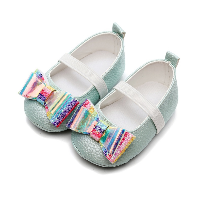 Shoes First-Walkers Rainbow Soft-Soled Anti-Slip baby Baby-Girl with Bowknot Casual Toddler