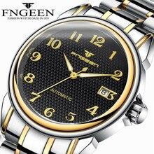 Relogio Masculino זוהר FNGEEN Mens שלד שעונים Steampunk אופנה אוטומטי שלד מכאני יד שעונים זכר שעון