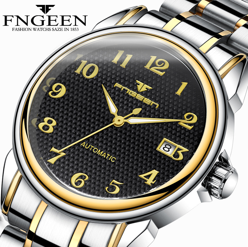 Relogio Masculino Luminous FNGEEN Mens Skeleton Watches Steampunk Fashion Automatic Skeleton Mechanical Wrist Watches Male Clock