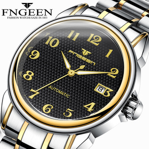Image 1 - Relogio Masculino Luminous FNGEEN Mens Skeleton Watches Steampunk Fashion Automatic Skeleton Mechanical Wrist Watches Male Clock