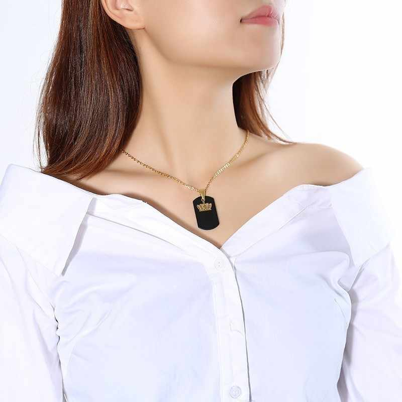 Tùy Chỉnh Nữ Hoàng Vương Mặt Dây Chuyền Cặp Đôi Vòng Cổ Cá Tính Thép Không Gỉ Di Chuyển Được Choker Collares Nam Nữ Trang Sức Tình Yêu