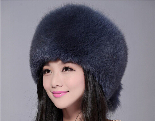 Fur hat for women natural from fox, fox fur Russian  Winter hats thick warm ears fashion ear-cap black New arrival