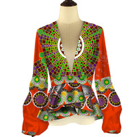 2018 Africa Style Women Modern Fashions Womens Full Sleeveless Tops Dashiki African Print Tops Shirt Women Clothing