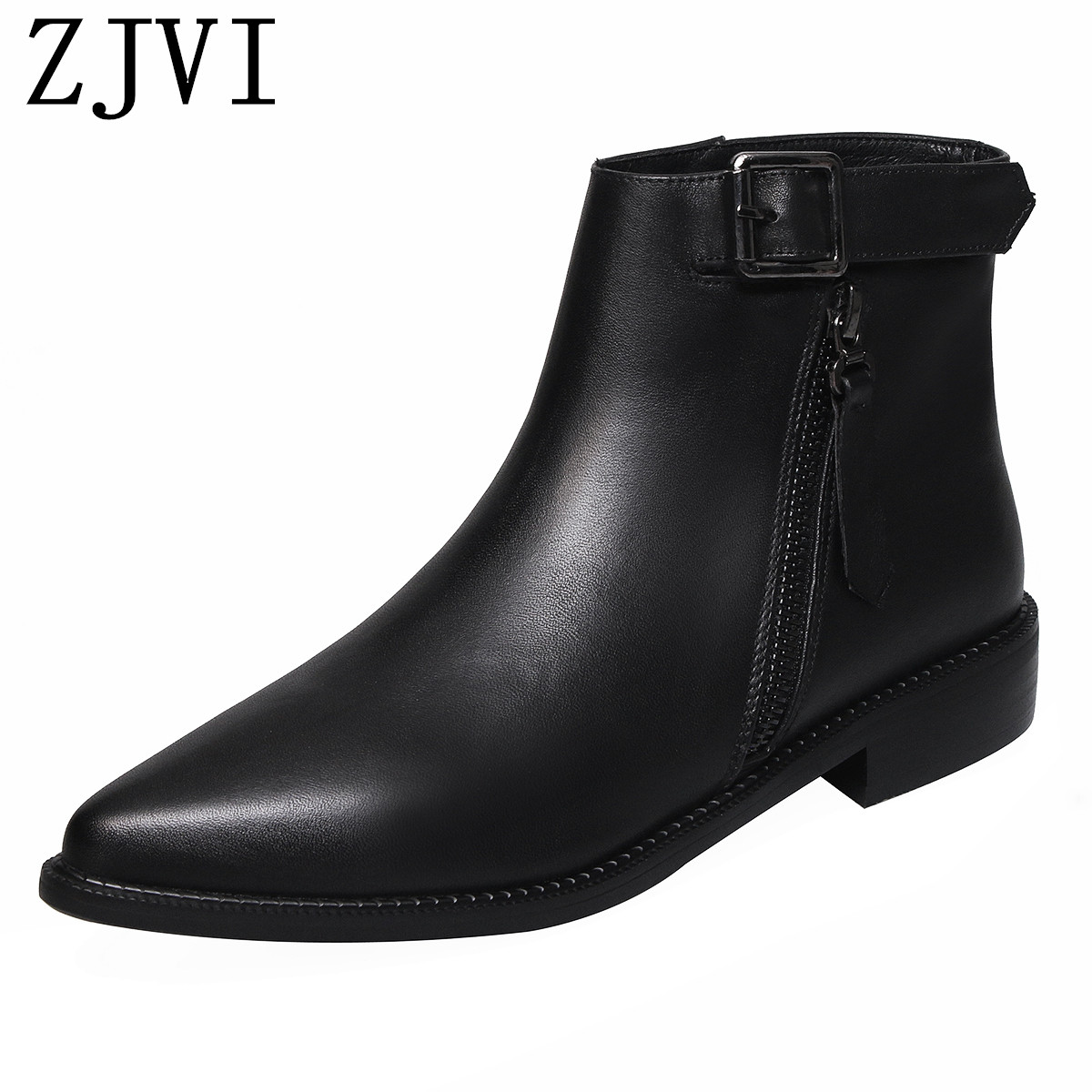 ZJVI women genuine leather square low heels ankle boots winter autumn black woman ladies pointed toe shoes for girls 2019