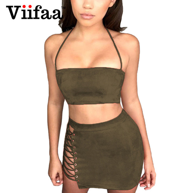 85673ed6c6 Viifaa Faux Suede Leather Summer Dress Women Green Two Piece Outfits Dresses  2018 Sexy Halter Lace