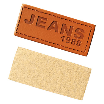 Customized Jeans & Clothing PU leather labels for clothes made with love label embossed brand Garment tags for Bags price tag