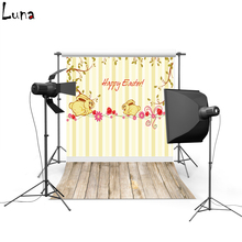 Happy Easter Vinyl Photography Background Cartoon Backdrop Wooden Floor New Fabric Flannel Backdrop For photo studio 004