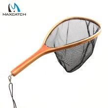Maxcatch Fly Fishing Nylon Landing Net Wooden Handle  Fishing Net