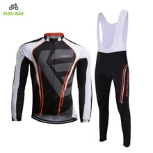 ZERO BIKE  Long Sleeves Bicycle Clothing Bib Pants Breathable MTB Bike Cycling Jersey Men's Ropa Ciclismo