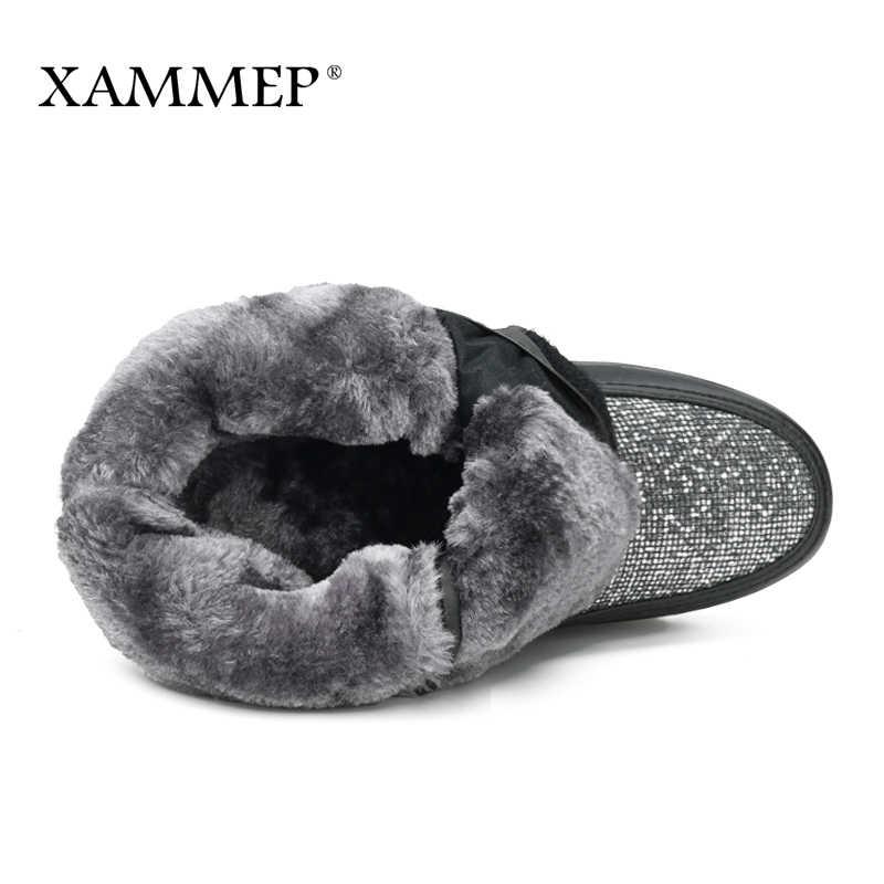 Xammep kadın kış ayakkabı büyük boy yüksek kaliteli marka kadın ayakkabı peluş ve yün sıcak kadın kışlık botlar orta buzağı çizmeler