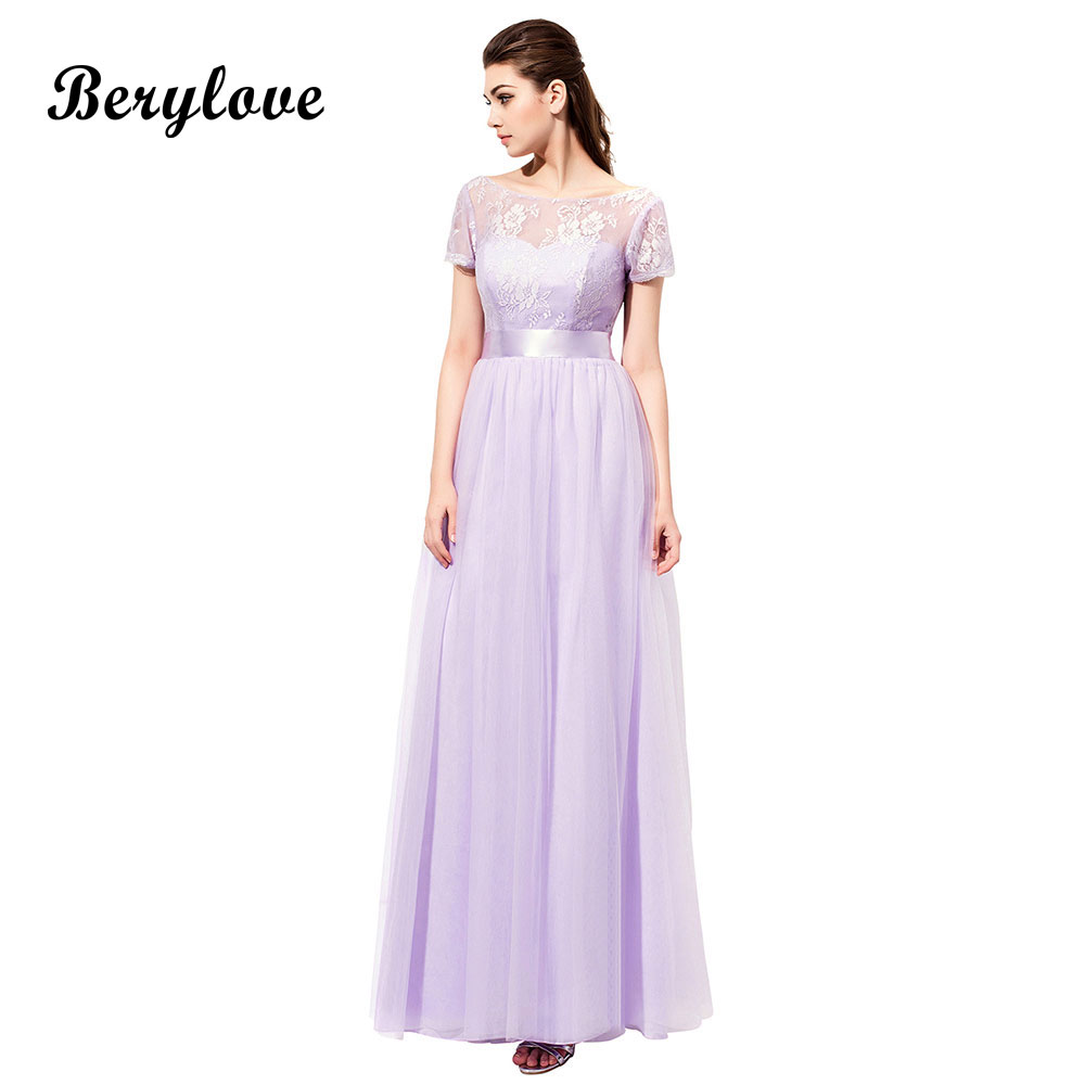 BeryLove Cheap Lavender Bridesmaid Dresses With Sleeves Tulle Lace ...