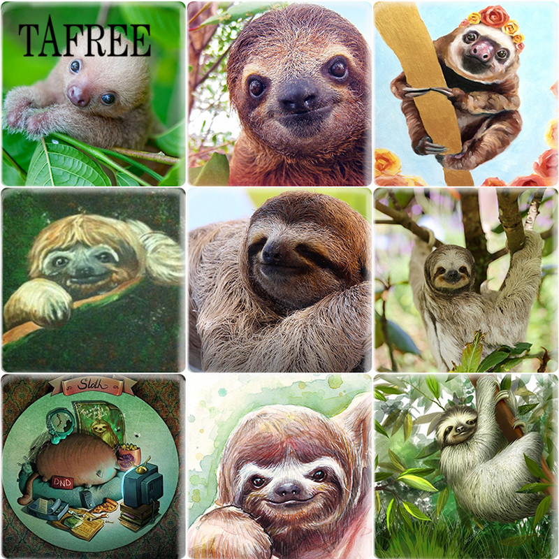 TAFREE Handmade Sloths Photo 25mm Square DIY Glass Cabochon Jewelry Finding Cameo Pendant Settings in Jewelry Findings Components from Jewelry Accessories