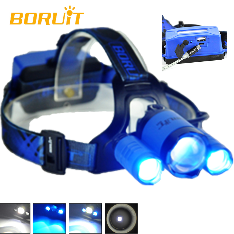 Boruit Head LED Flashlight B22 Cree XM L2+2XPE HeadLamp Flashlight LED Blue White Color Beam Hiking Linterna Frontal Headlight